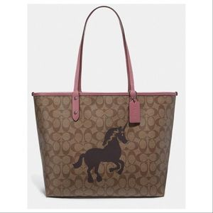 COACH Reversible City Tote with Unicorn Motif